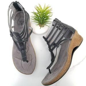 Ahnu Merida Gladiator Wedge Sandals Black Straps